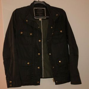 J. Crew army jacket with gold buttons.